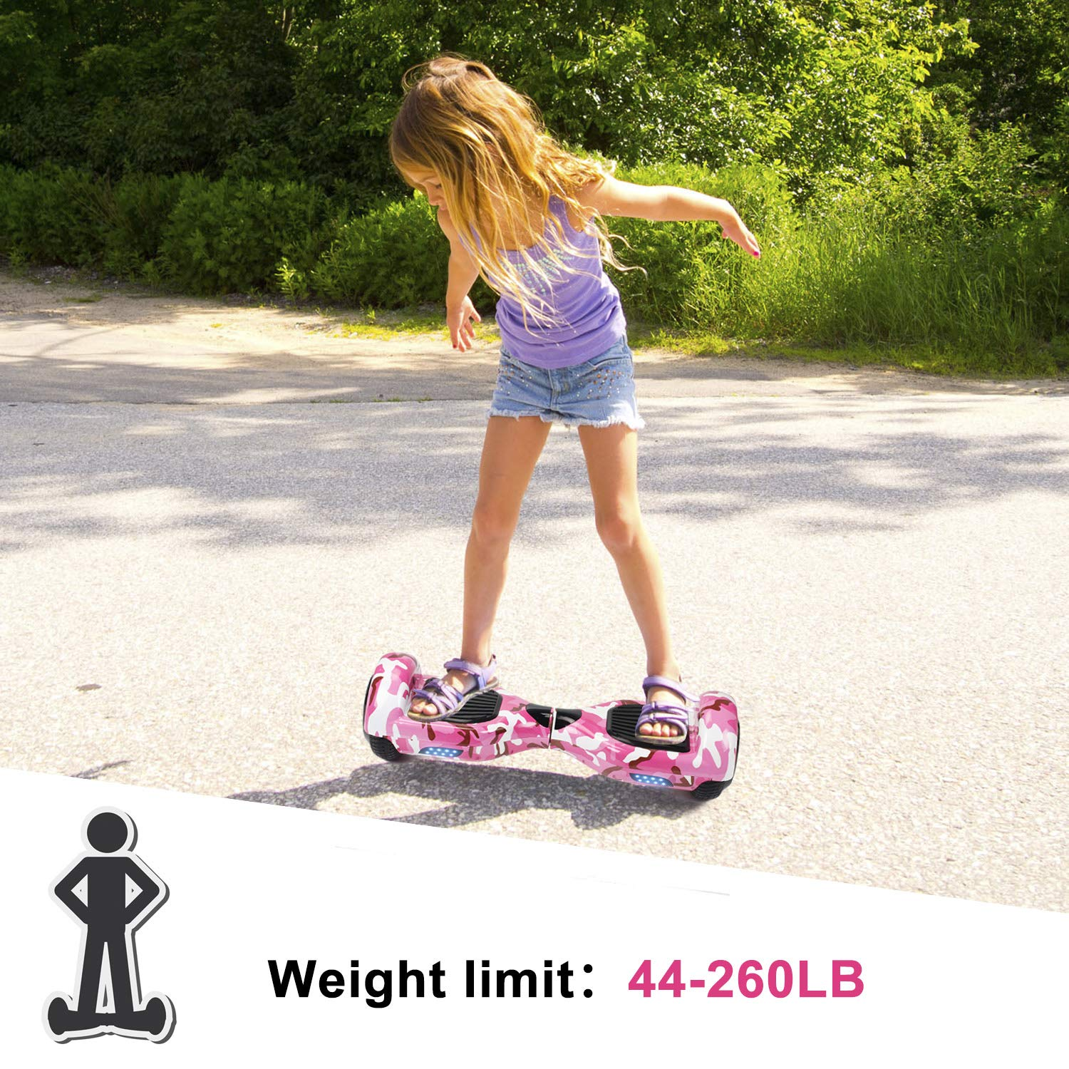 SISIGAD Hoverboard Self Balancing Scooter 6.5'' Two-Wheel Self Balancing Hoverboard with LED Lights Electric Scooter for Adult Kids Gift UL 2272 Certified Fun Edition - Pink Camou by SISIGAD (Image #6)