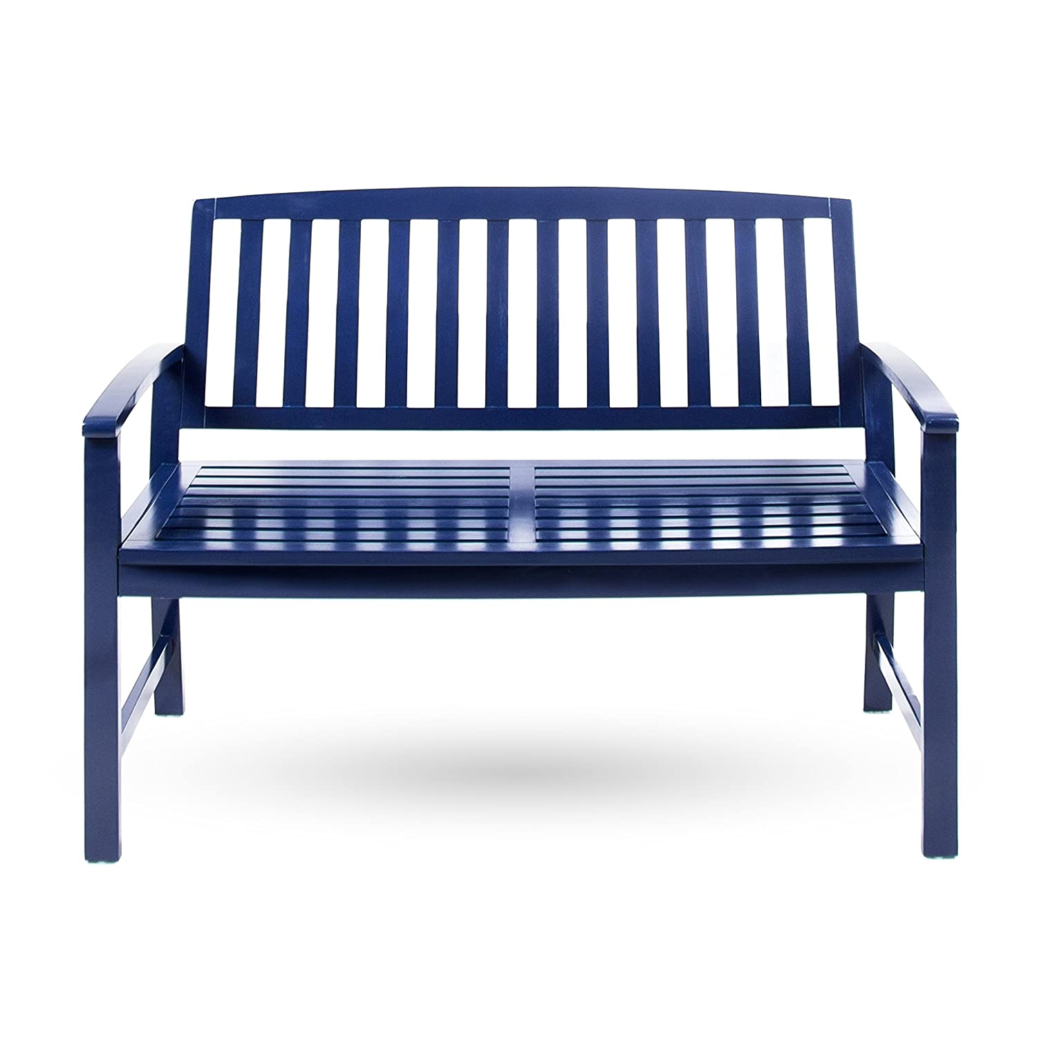 Amazon.com: Loja Outdoor Navy Blue Finished Acacia Wood Bench ...