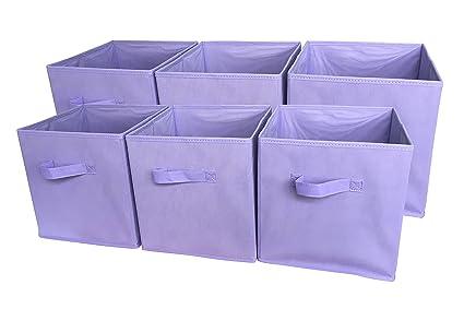 3dbf0c0416e2 Sodynee Foldable Cloth Storage Cube Basket Bins Organizer Containers  Drawers, 6 Pack, Light Purple