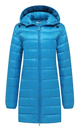 98bb8247af1 Wantdo Femme Manteau Long en Duvet Doudoune Ultra Légère à Capuche Hiver  Acid Bleu Large