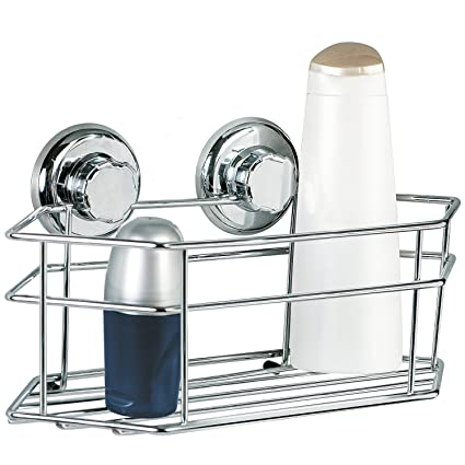 Tatkraft Megalock Bathroom Shelf Shower Caddy Organizer Suction Cups Chrome  Plated Steel 12X6X6u0026quot;