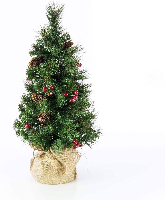 artplants.de /Árbol de Navidad Artificial BUKAREST con 35 Leds /Ø 35cm Adorno Peque/ño Decorado 60cm Abeto Navide/ño 80 Ramas