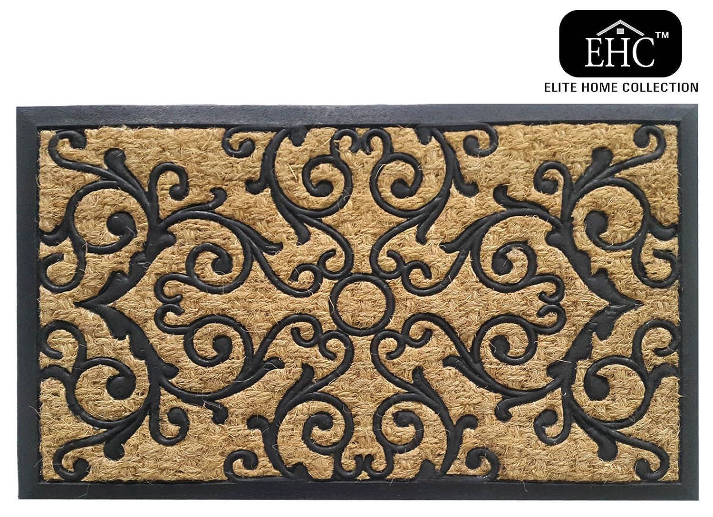 EHC Panama Natural Coir & Rubber Indoor or Outdoor Non-Slip Door Mat, Multi-Colour Elite Housewares E7-9151