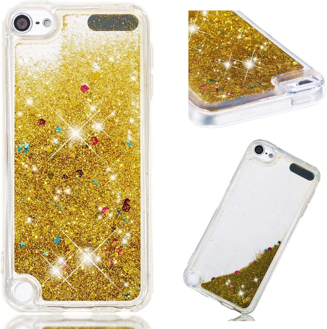 iPod Touch 7 Case, iPod Touch 6 Case, iPod Touch 5 Case, Gift_Source Bling Glitter Sparkle Liquid Quicksand Flowing Soft Cover Clear TPU Gel Rubber Case for iPod Touch 5th/6th/7th Generation [Gold]