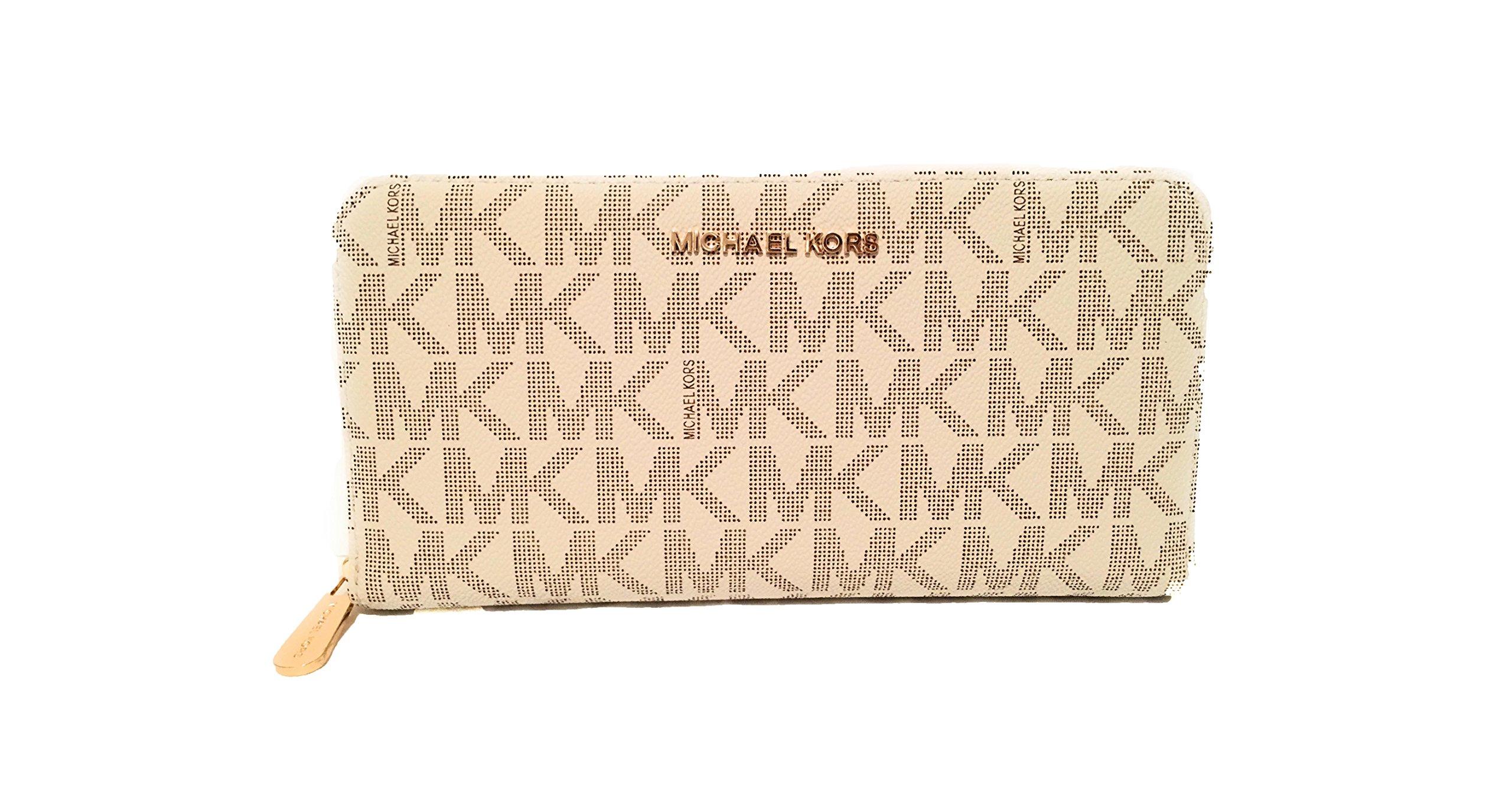 Michael Kors Jet Set Travel Zip Around Travel Monogram Wallet Vanilla PVC