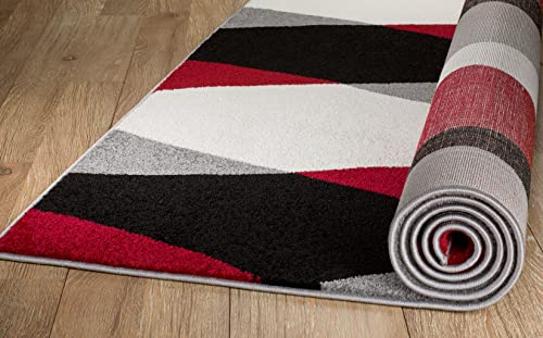 Rio Summit 311 Grey Red Black White Area Modern Abstract Rug Many Sizes Available 5' x 7'.2″