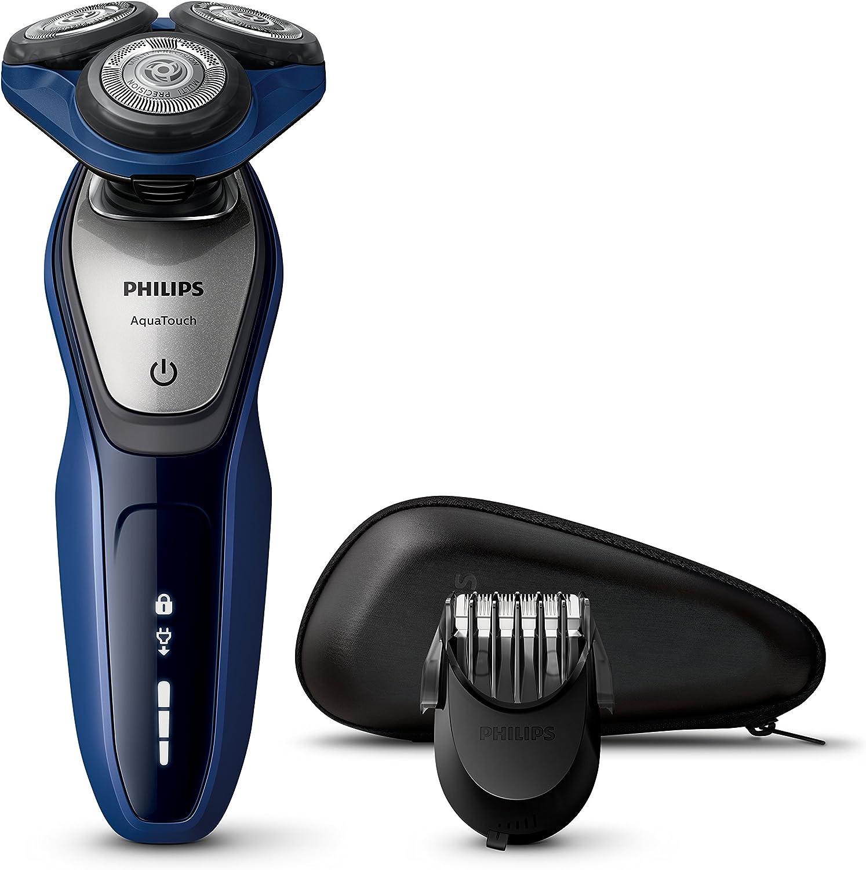 Philips AquaTouch S5600 - Afeitadora (Batería/Corriente, Ión de litio, Rotación, Negro, Azul, Plata, LED, Ergonomic): Amazon.es: Salud y cuidado personal