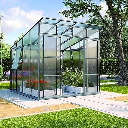 Freya 7600 de aluminio Invernadero HKP-100 6 mm antracita Invernadero Jardín Casa Incluye Base con cimientos: Amazon.es: Jardín
