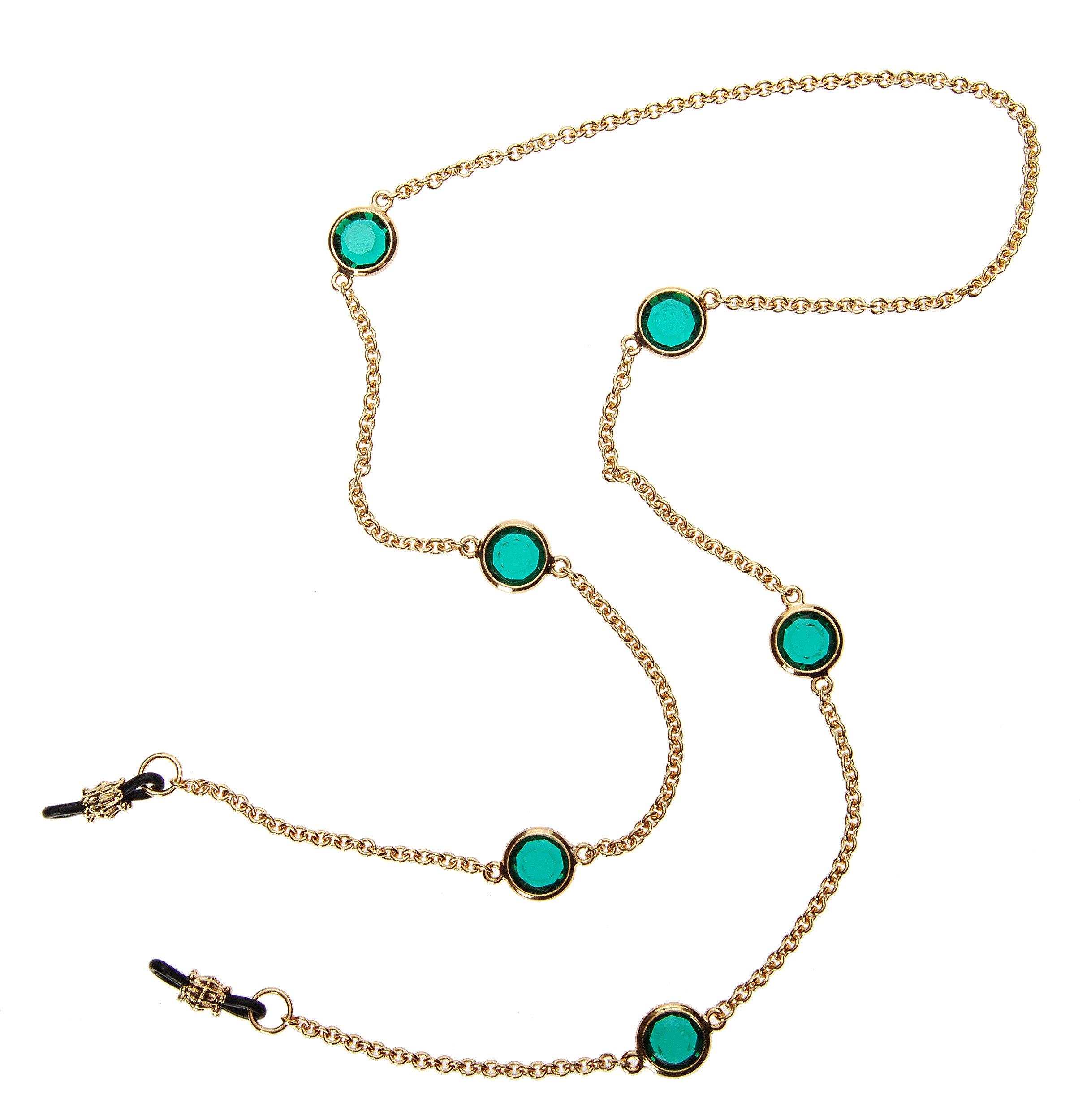 L. Erickson Charmer Eyeglass Chain - Emerald/Gold