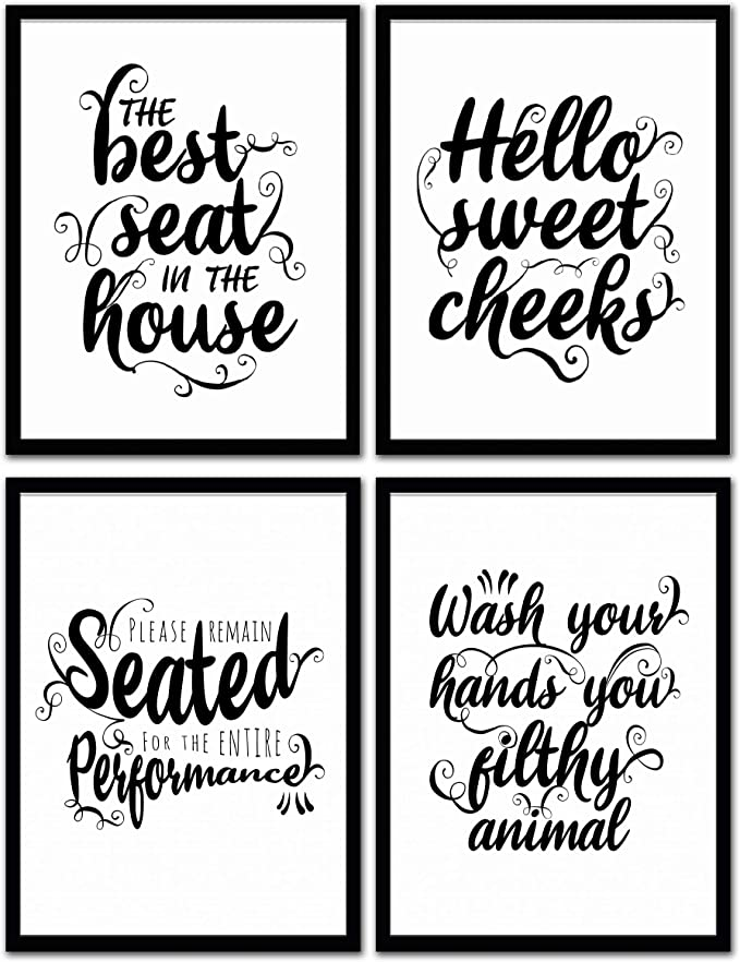 Decorshop Funny Bathroom Decor Wall Art & Funny Bathroom Signs Decor | Set of 4 Unframed 8x10 Bathroom Wall Art Prints | Bathroom Art on Fine Art Paper | Wall Art for Bathrooms & Bathroom Wall Decor