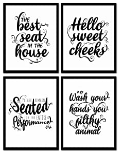DecorShop Typography Modern Farmhouse Bathroom Decor Wall Art | Set of 4 Unframed 8x10 Prints on Photopaper (8 Designs 2 Sizes) | These Farmhouse Decor for The Home Prints Come in Black and White