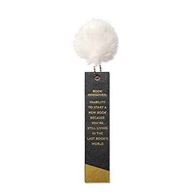 C.R. Gibson Leatherette Bookmark, Gold Foil Lettering, Fur Pom Pom Accent, A Gift For The Book Lovers In Your Life, Measures 1.75' x 7' - Book Hangover