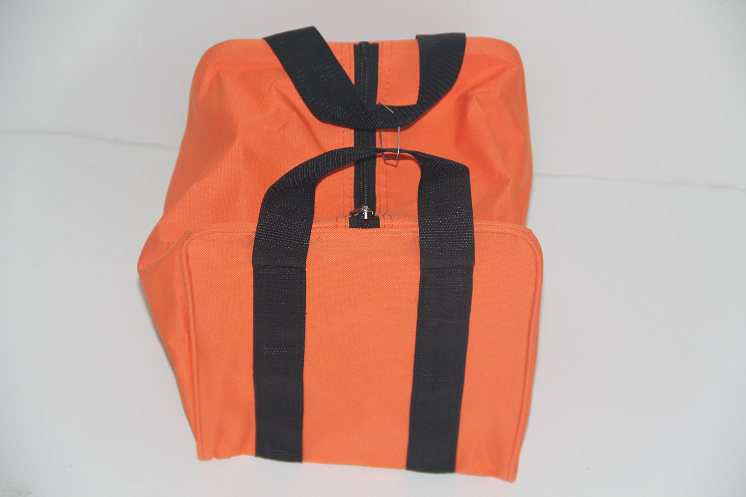 Premium Quality - Extra Heavy Duty Nylon Bocce Bag - Orange with Black Handles
