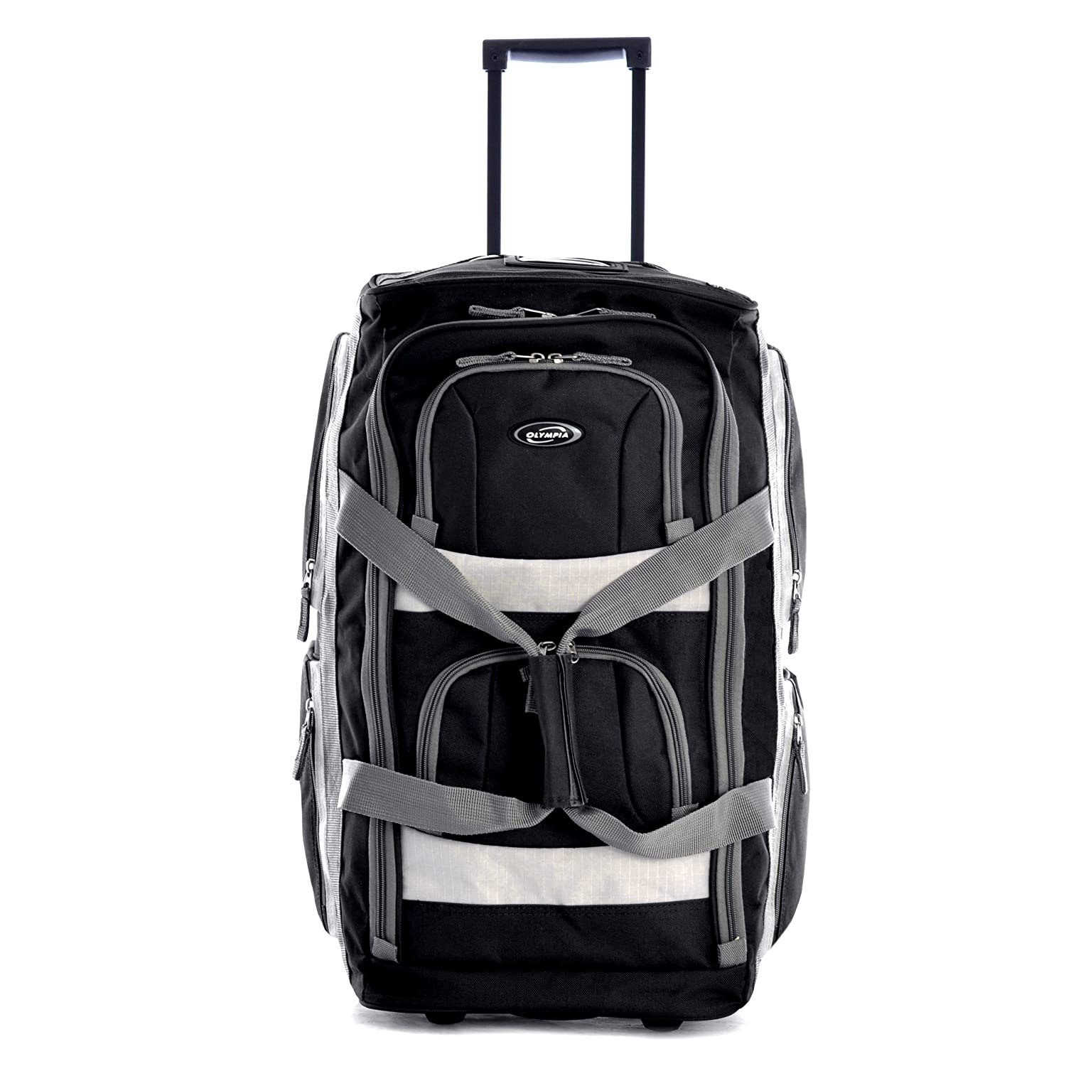 amazon com olympia luggage 22 8 pocket rolling duffel bag black