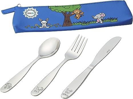 Cubiertos de acero inoxidable 18/10 para niños, cubiertos seguros para niños y niños, juego de 12 utensilios para comer con 4 cuchillos, 4 tenedores, 4 cucharas, bolsa de transporte portátil incluida: Amazon.es: Bebé