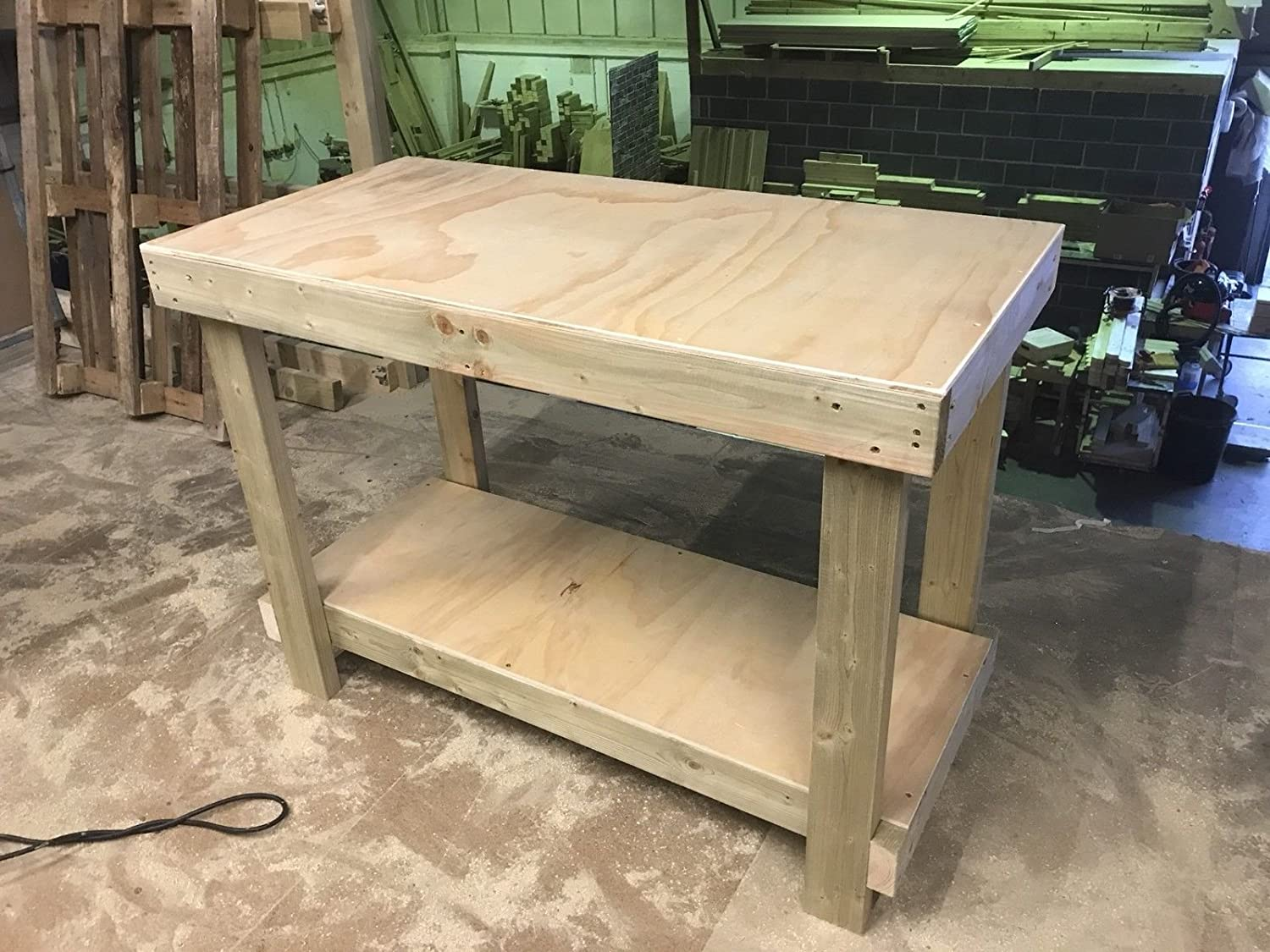 MC TIMBER PRODUCTS LTD 4FT WOODEN WORK BENCH WITH 12mm PLYWOOD SURFACE AND LOWER STORAGE SHELF