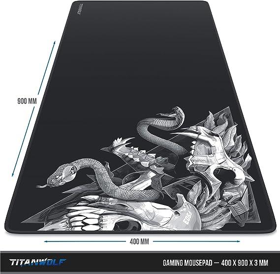 Pr/äzision und Geschwindigkeit Tischunterlage mousepad Skull Titanwolf Gummiunterseite f/ür stabilen Halt rutschfest strapazierf/ähig wasserabweisend XXL Gaming Mauspad 900x400 mm
