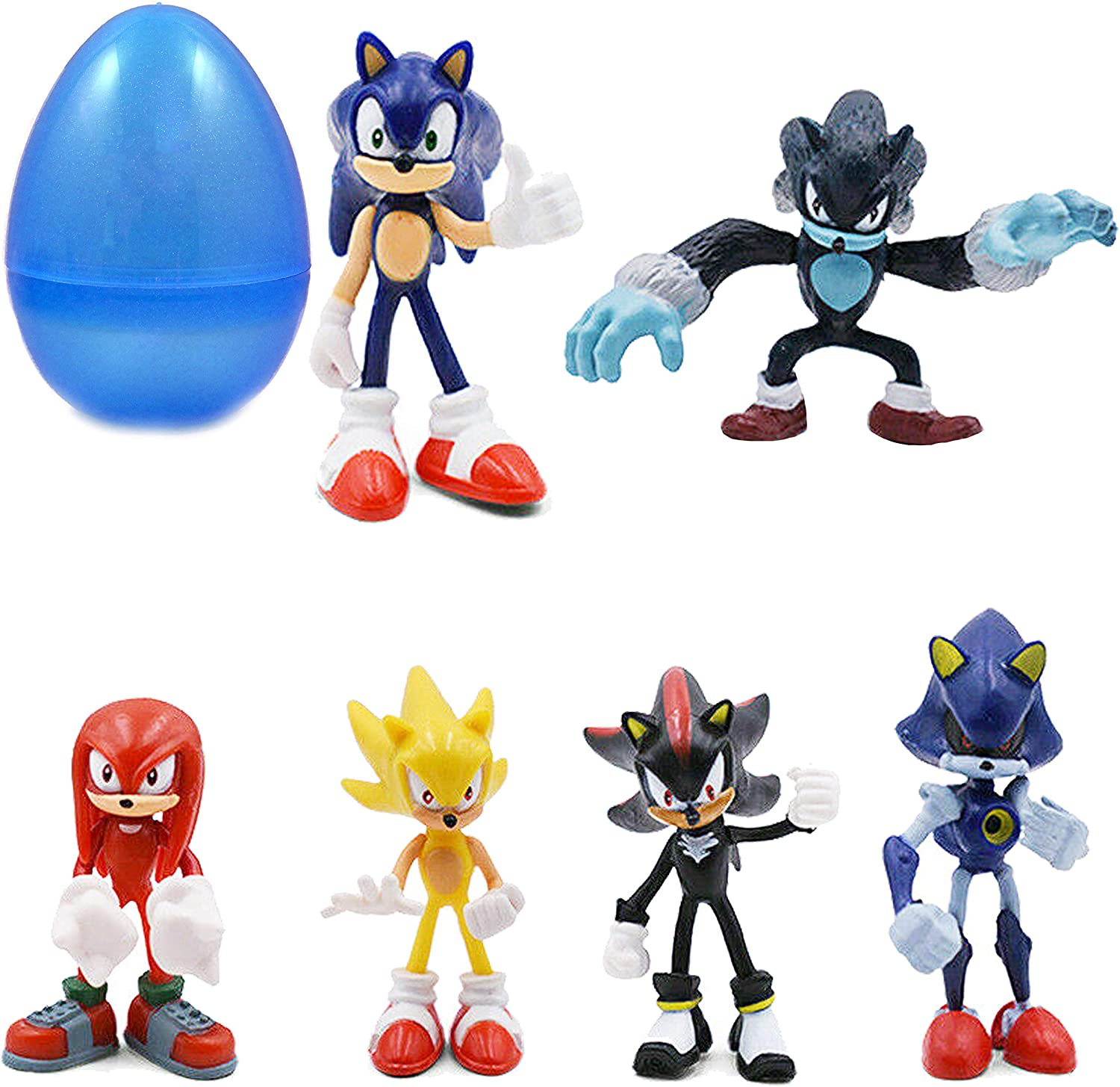 Amazon Com Park Ave 6 Sonic Hedgehog Figures With Jumbo Egg Storage 1 5 2 5 Tall Mini Figure Toys For Kids Cupcake Cake Toppers Party Favor Decoration Toys Games
