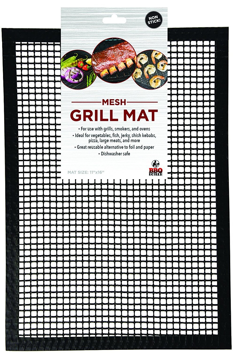 Grill Mat BBQ Tool - Mesh Grill Mat That Allows Smoke to Pass Through - Non-Stick - Perfect For Grills, Smokers and Ovens BBQ Butler