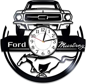 Kovides Speed Car for Man and Woman Ford Mustang Birthday Gift Idea Car Wall Clock 12 Inch Original Home Decor Sport Car Handmade Products Ford Mustang Vinyl Record Wall Clock