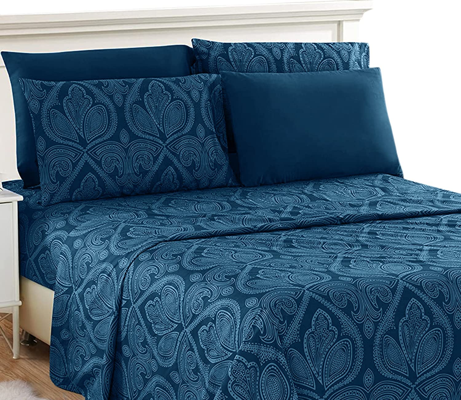 Lux Decor Collection King Bed Sheets Set - King Sheets Brushed Microfiber 1800 Thread Count Bedding - Wrinkle, Stain, Fade Resistant - Deep Pocket King Size Sheets Set - 6 PC (King, Paisley Navy Blue)