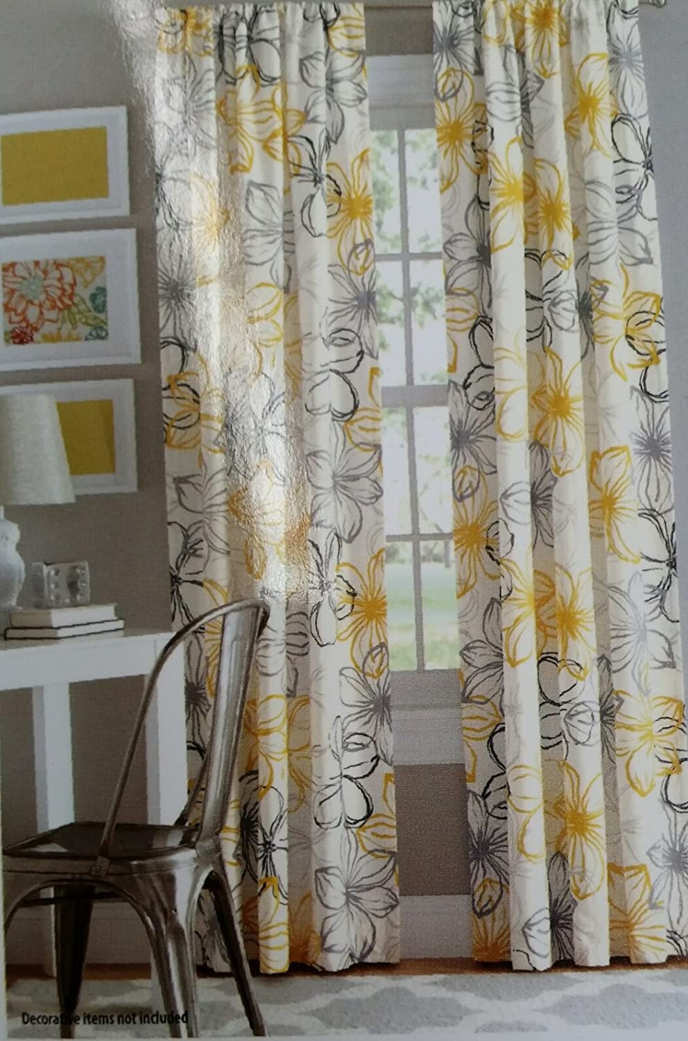 grey decorative com blue gorillacrouch yellow pattern flower printed and floral curtains with