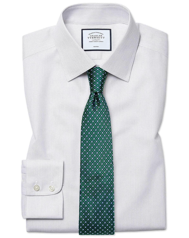 Chemise à Motif à Effet Tirets grise Slim Fit Sans Repassage   gris (Poignet Simple)   17.5   35