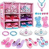 Meland Princess Dress Up Shoes and Jewelry Boutique - 4 Pairs of Play Shoes and Pretend Jewelry Toys Princess…