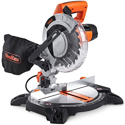 VonHaus 1400W Mitre Saw 210mm Blade with 15°, 22 5°, 30° and 45° Key Bevel  Angles, 45° / -45° Versatility – Dust Bag Included