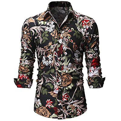 Men's Floral Shirts Print Casual Long Sleeve Slim Fit Button Down Shirt at Men's Clothing store