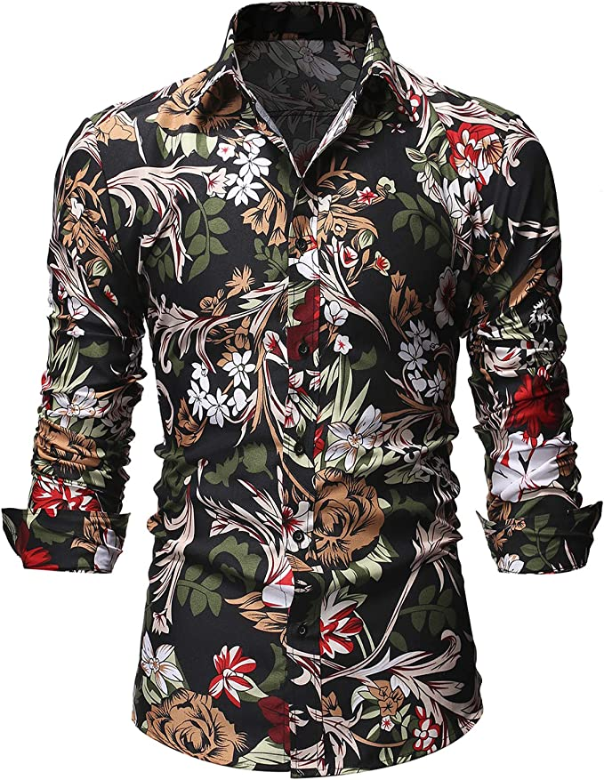 Coolred-Men Dry Cool Floral Spring Plus Size Beach Summer Button Down Shirt