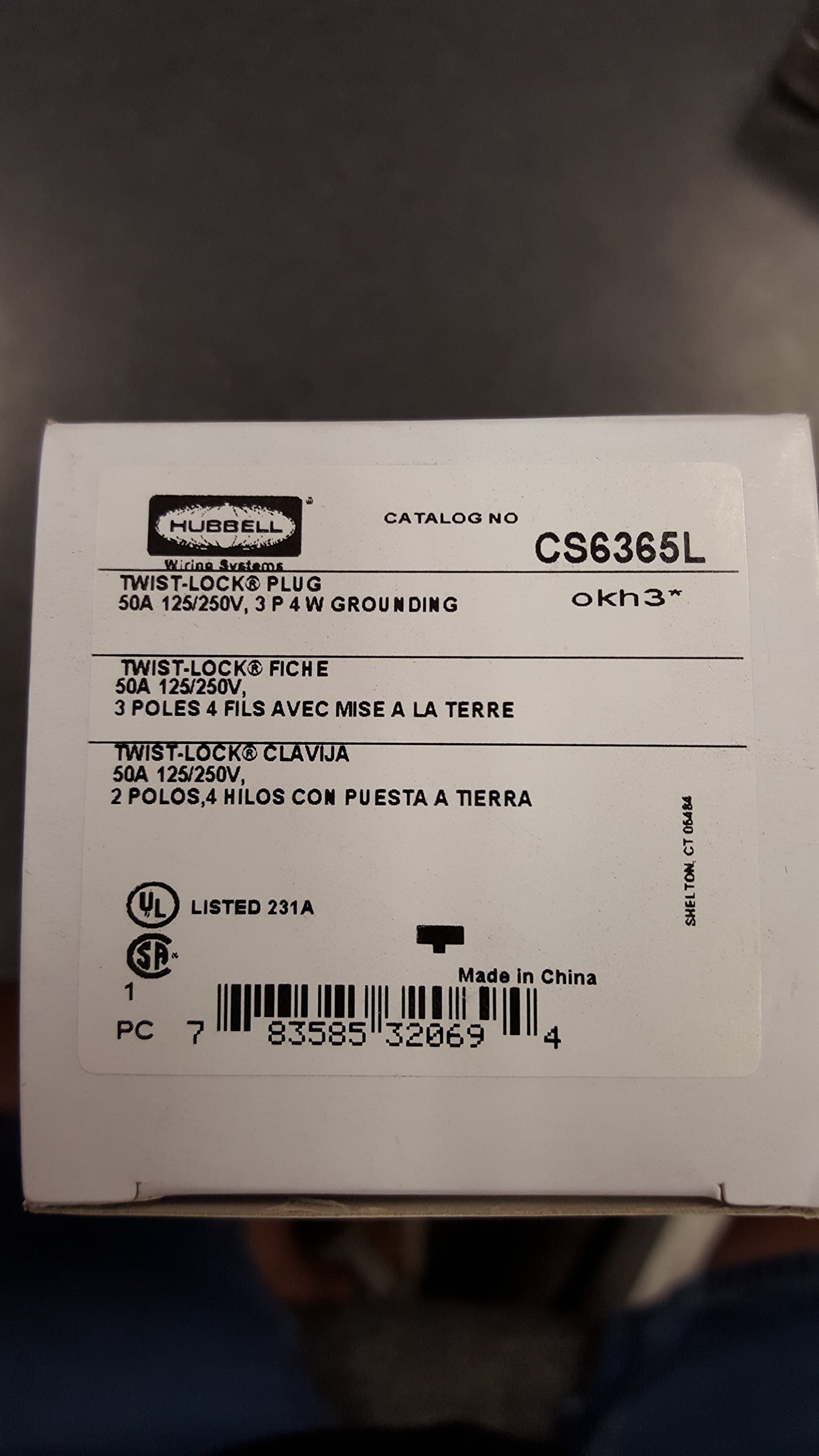 HUBBELL CS6365L AC Plug CA STD 50a 125/250v Male