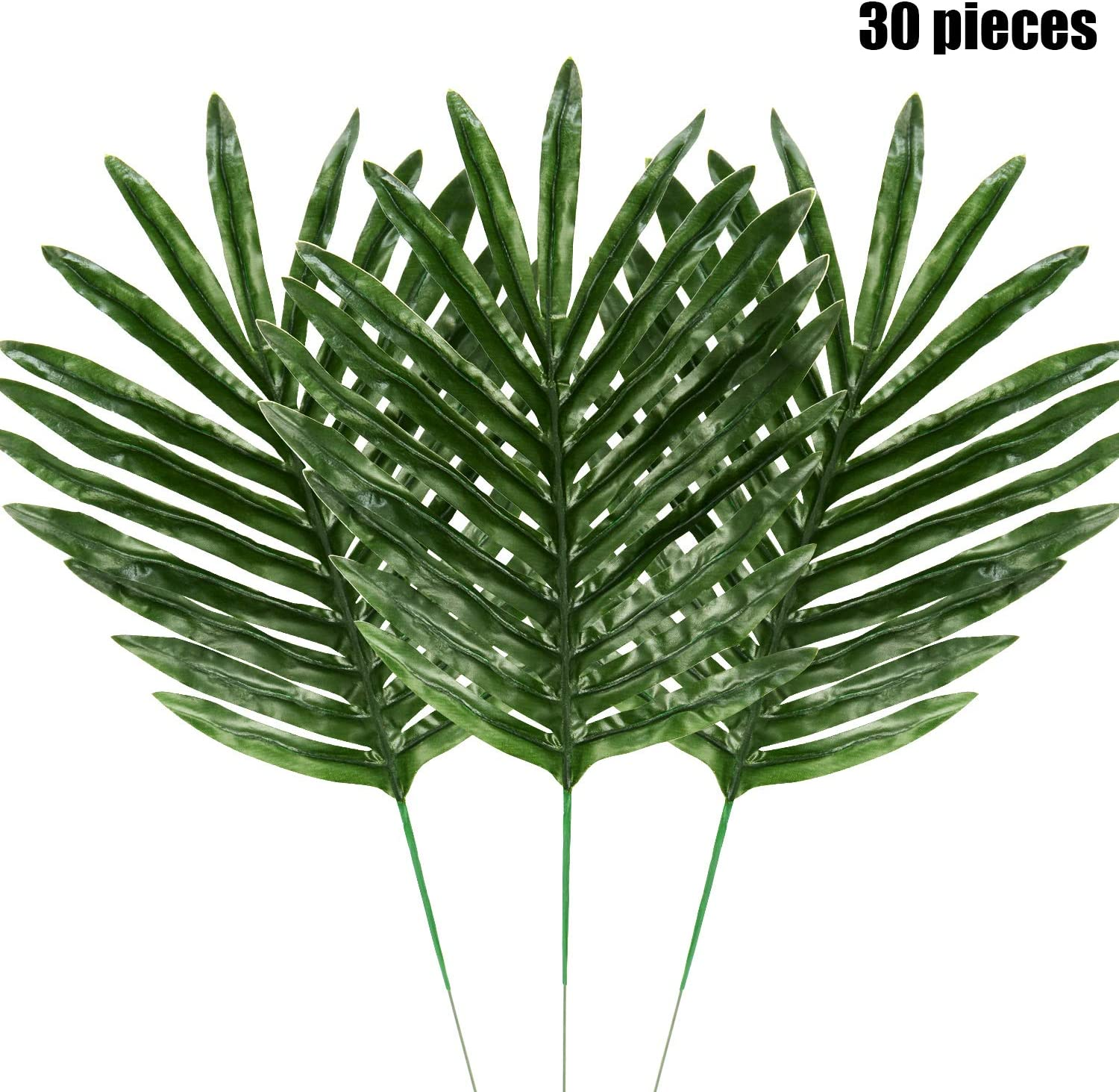 Amazon Com Hicarer Palm Leaves Fake Tropical Leaf Artificial Leaves Decoration Fake Monstera Tropical Leaves 30 Pieces Color Set 1 Home Kitchen