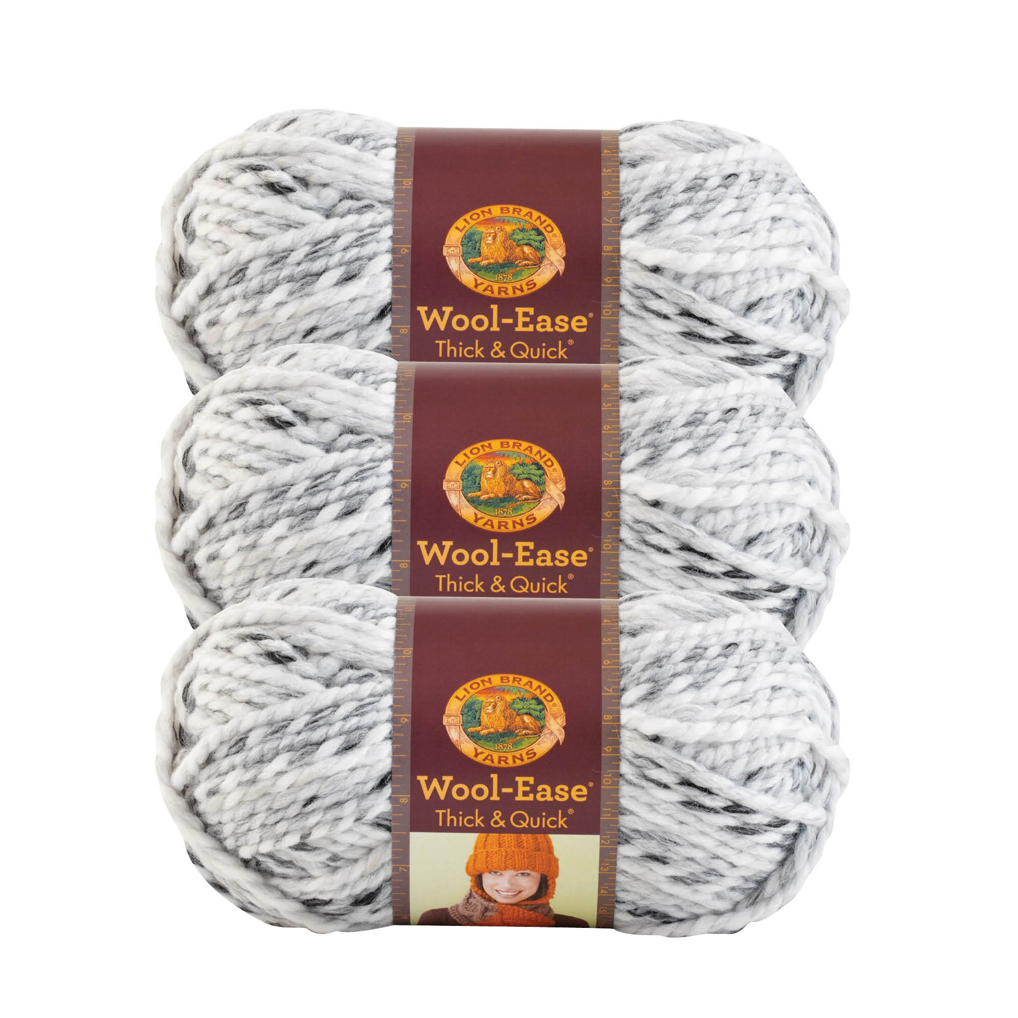 (3 Pack) Lion Brand Yarn 640-505 Wool-Ease Thick and Quick Yarn, 97 Meters, Marble
