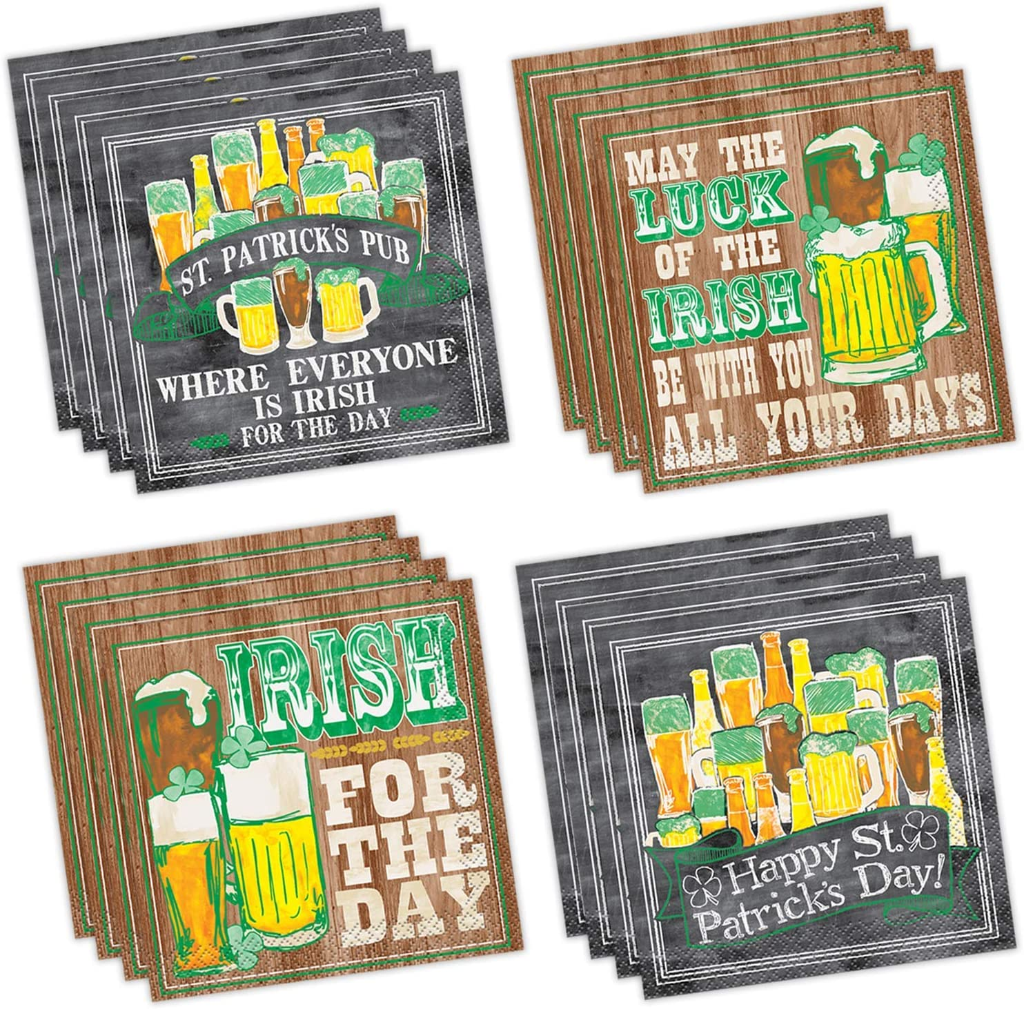 """128 Saint Patrick's Day Beverage Napkins in 4 different Styles - 32 Each style - Perfect funny beverage napkins for any St Patrick celebration, Irish beer festival or cocktail party. Measures 5"""" x 5"""""""