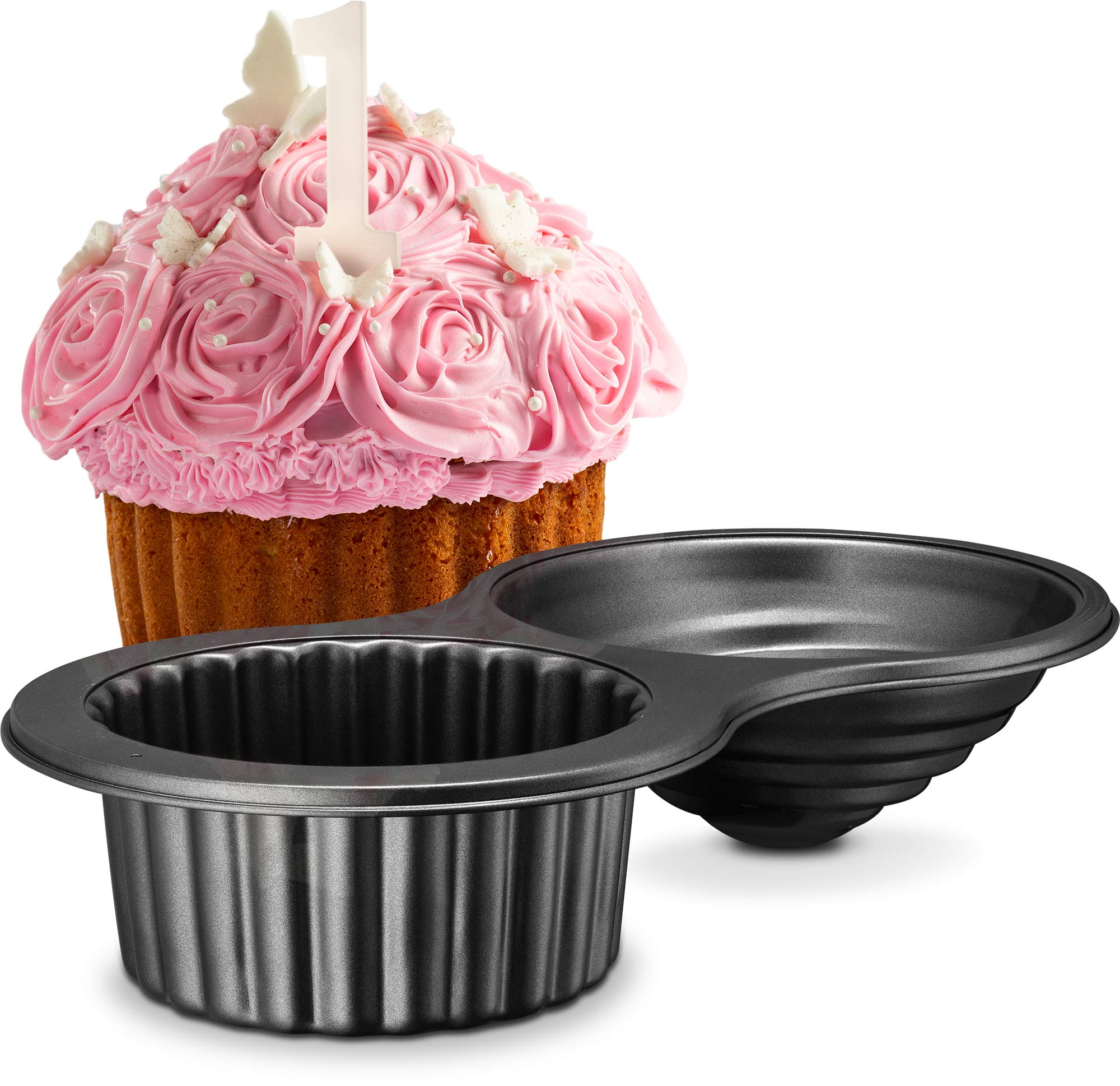Gourmia GPA9395 Giant Cupcake Pan - Double Sided Two Half Design with Swirl Top Mold - Premium Steel Cake Maker with Non-Stick Coating - Dishwasher Safe by Gourmia (Image #1)