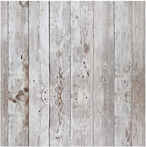 "Livelynine 17.7""x276"" Reclaimed Wood Wall Paper Decorations Shiplap Peel and Stick Wallpaper Wood Bulletin Board Paper Adhesive Shelf Liner"