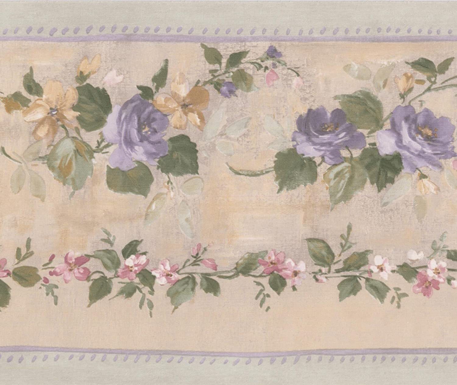Purple Bloomed Roses On Vine Beige Floral Wallpaper Border Retro