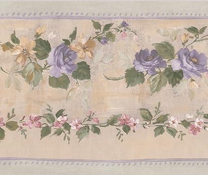Purple Bloomed Roses On Vine Beige Floral Wallpaper Border