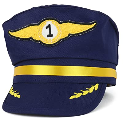 Trendy Apparel Shop Youth Size Junior Airline Pilot Costume Cap - NAVY: Clothing