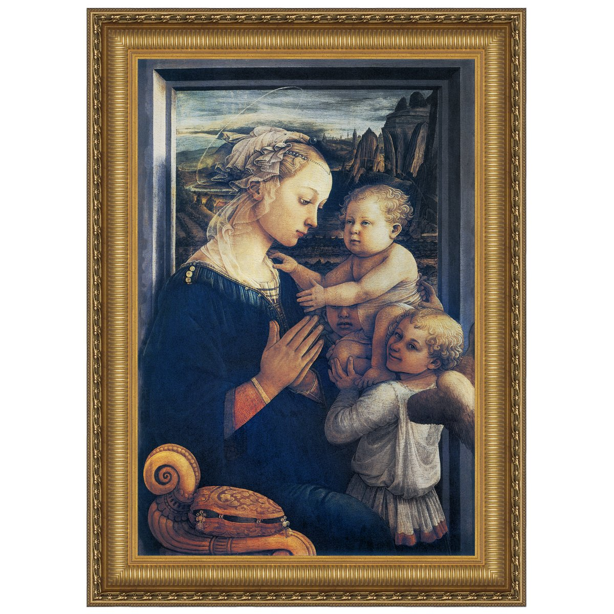 Design Toscano Madonna and Child with Two Angels, c. 1465: Canvas Replica Painting, Small