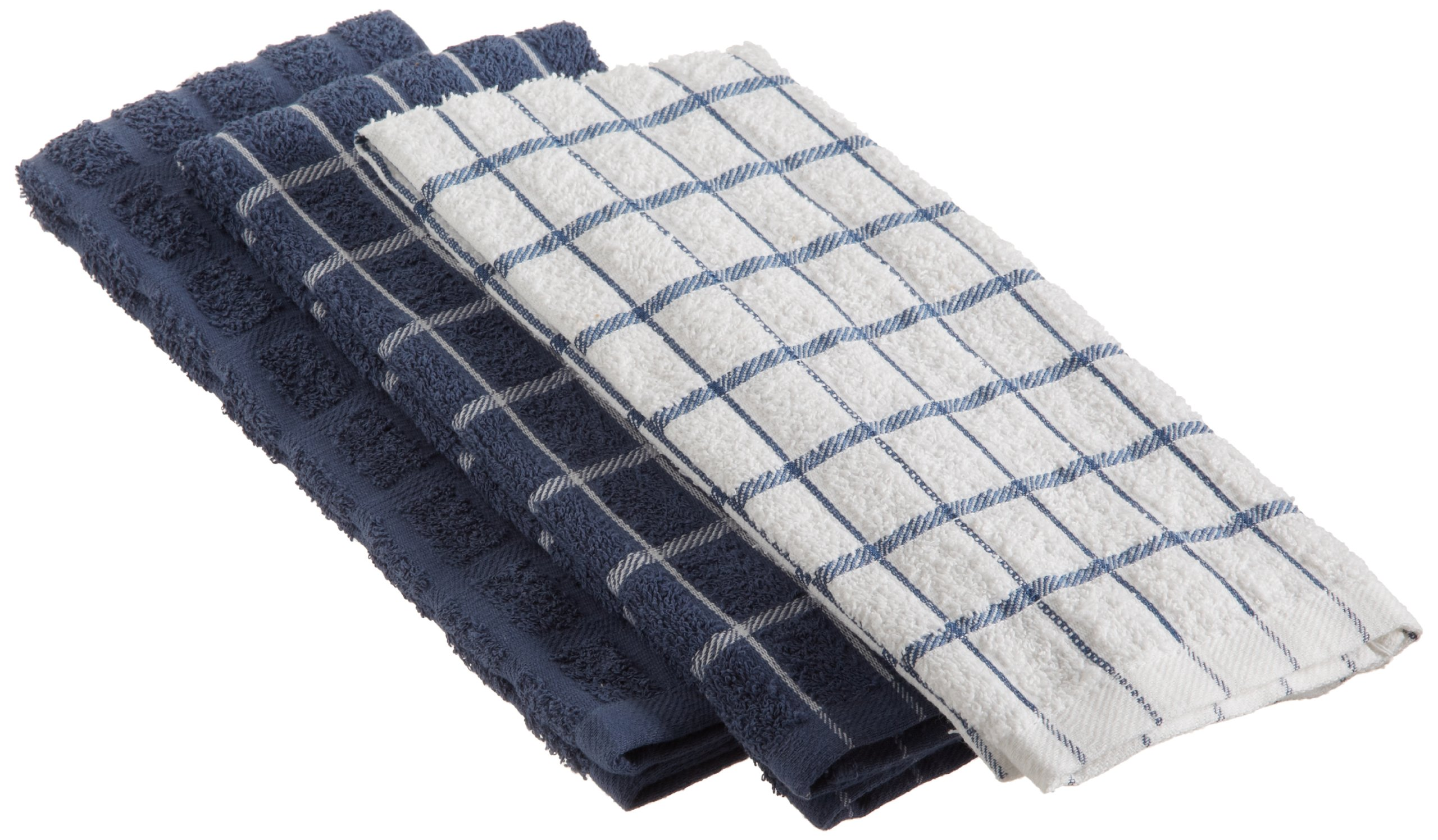 "Ritz 100% Cotton Terry Kitchen Dish Towels, Highly Absorbent, 25"" x 15"", 3-Pack, Federal Blue"