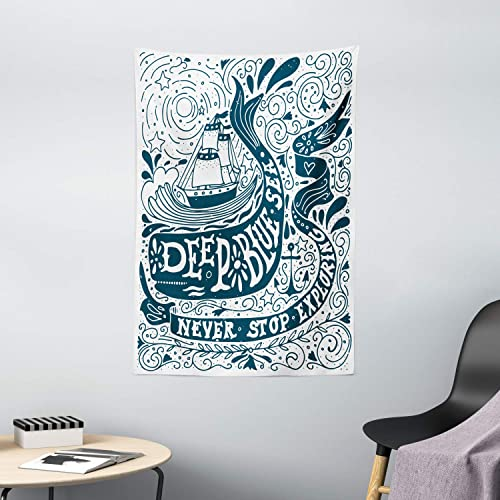 Ambesonne Nautical Tapestry, Classic Art with Ship Whale Lettering Deep Blue Sea Never Stop Exploring, Wall Hanging for Bedroom Living Room Dorm Decor, 40 X 60 , Blue White