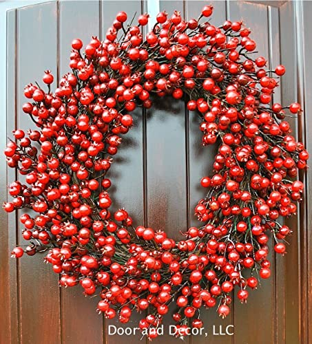 red berry rose hip christmas wreath for front door in 22