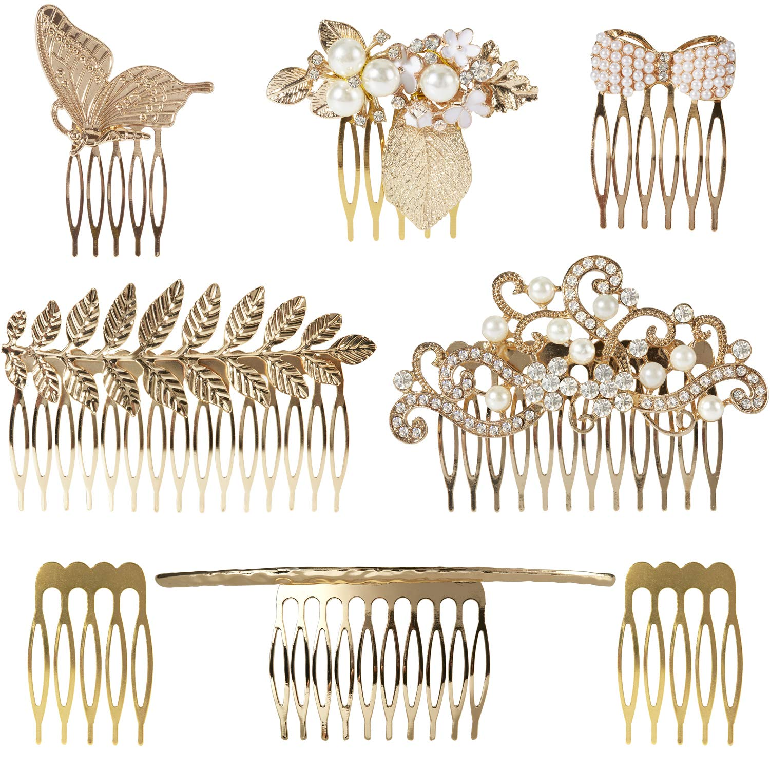 8 Pack Large Gold Crystal Pearl Rhinestone Metal Hair Side Combs Clip With Teeth Grip Clasp Barrettes Pins for Women Bridal Wedding Veil Decorative Headpiece French Twist Updo Vintage Accessories by Angla