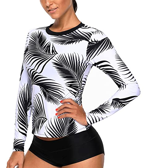 7e4ce883acda5 Bulawoo Womens Tropical Leaf Print White Long Sleeve Rash Guard Swim Top Surf  Swimsuit Swimwear 1 Pcs (S-XXL) at Amazon Women s Clothing store