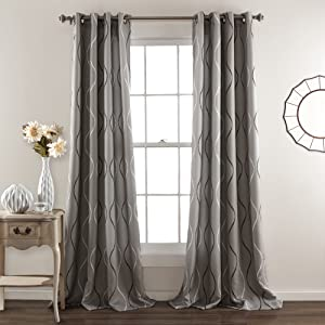 "Lush Decor, Gray Swirl Room Darkening Curtains | Wave Dot Stripe Retro Design Window Panel Set for Living, Dining, Bedroom (Pair), 84"" x 52"