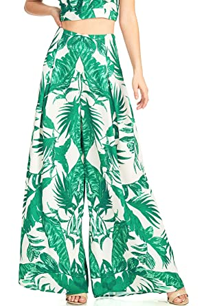 ef6afdf9c89 Flying Tomato Women s Juniors High Waist Wide Leg Tropical Print Pants (S