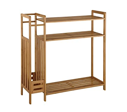Organize It All Natural Bamboo 3 Tier Entryway Storage Unit With Umbrella  Stand