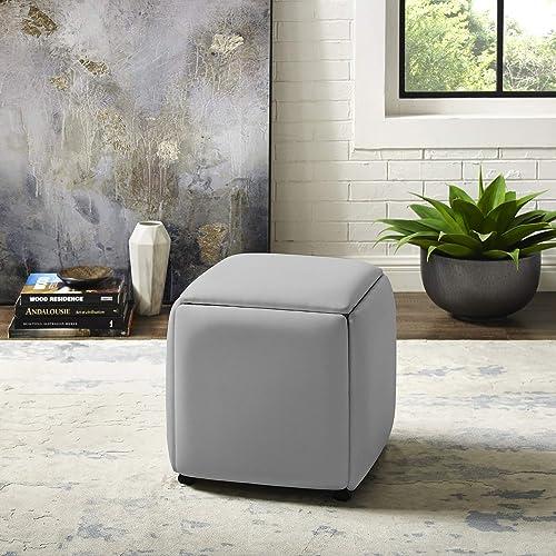 Loft Lyfe Brisa Convertible Ottoman – 5 in 1 Nesting Seats Cube Design PU Leather Caster Wheel Legs Grey